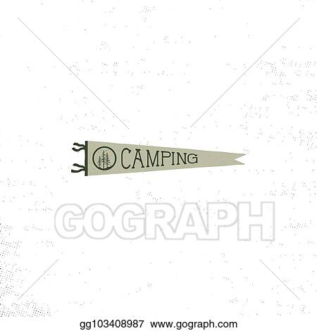 Pennant Template | Vector Illustration Camping Pennant Template Vintage Hand Drawn