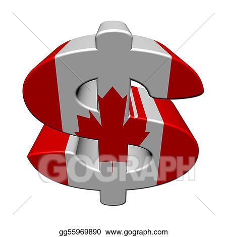 stock illustration canadian dollar symbol with flag on white rh gograph com Dollar Clip Art Black and White Dollar Sign Clip Art