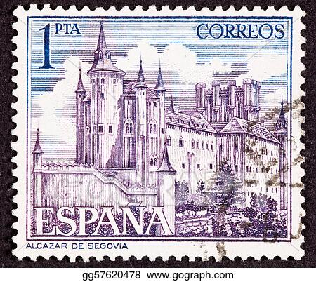 Cancelled Spanish Postage Stamp Segovia Castle Spain Ornate Fo