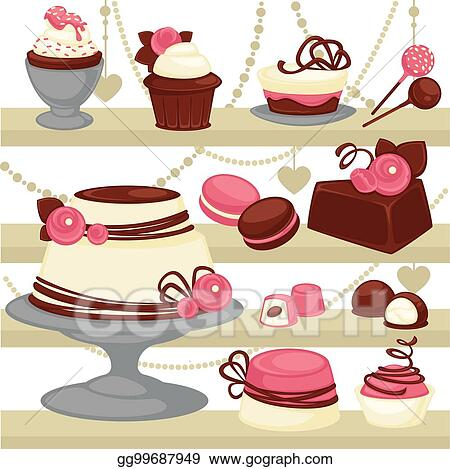 Eps Illustration Candy And Dessert Cake Or Ice Cream Cookie Vector Patisserie Menu Design Vector Clipart Gg99687949 Gograph