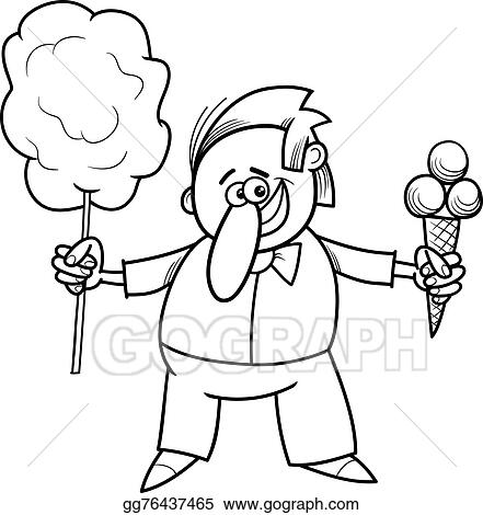 Vector Illustration - Candy vendor coloring page. EPS Clipart ...