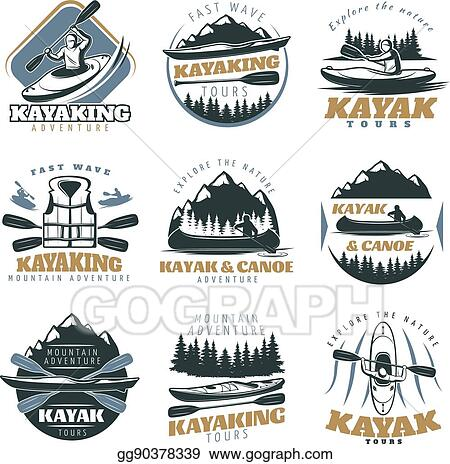 Vector Illustration - Canoe kayak emblem set  EPS Clipart