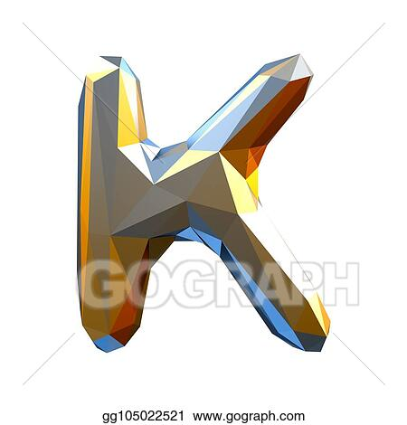 Stock Illustration Capital Latin Letter K In Low Poly Style Gold