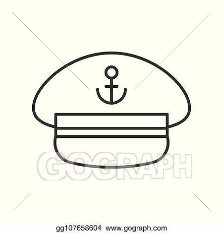 Vector Illustration - Captain hat outline icon on white