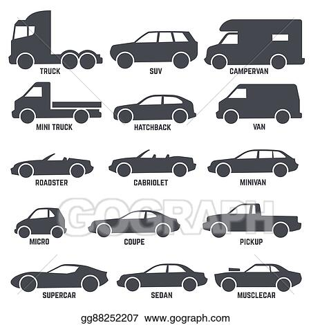 Vector Art Car Automobile Types Black Vector Icons Isolated On