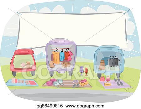 Vector Stock Car Boot Sale Banner Clipart Illustration Gg86499816