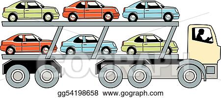 Vector Art Car Carrier Truck Clipart Drawing Gg54198658 Gograph