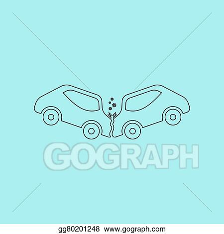 Vector Art Car Crash And Accidents Icon Clipart Drawing