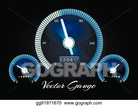 Vector Illustration - Car dashboard with speed, power and