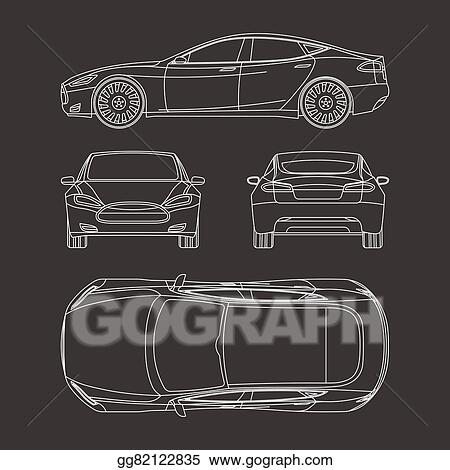 Clip art vector car draw four all view top side back insurance clip art vector car line draw insurance rent damage condition report form blueprint stock eps gg82122835 malvernweather Gallery
