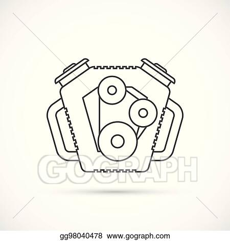 Vector Stock Car Engine Outline Icon Clipart Illustration