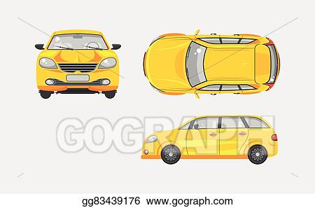Car Hatchback Top Front Side View
