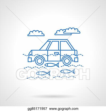 Eps Illustration Car In River Flat Blue Line Vector Icon Vector