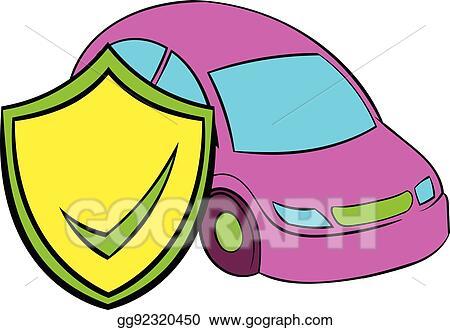Vector Illustration Car Insurance Icon Cartoon Eps Clipart