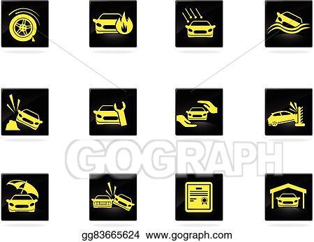 Vector Art Car Insurance Icons Eps Clipart Gg83665624 Gograph