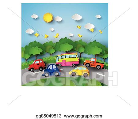 Vector Stock Car On Road Clipart Illustration Gg85049513 Gograph