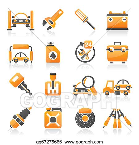 Vector Art Car Parts And Services Icons Eps Clipart Gg67275666