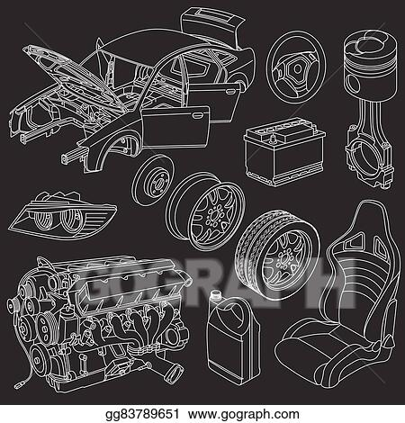 Vector Illustration - Car parts icons isometric. EPS Clipart ...