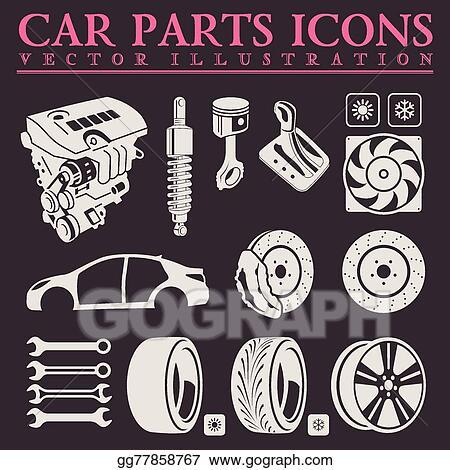 Clipart: car parts | Off-road adventure and car parts icon set — Stock  Vector © Digital-Clipart #119085494