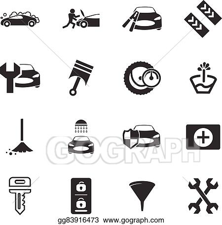 Eps Illustration Car Shop Icons Set Vector Clipart Gg83916473