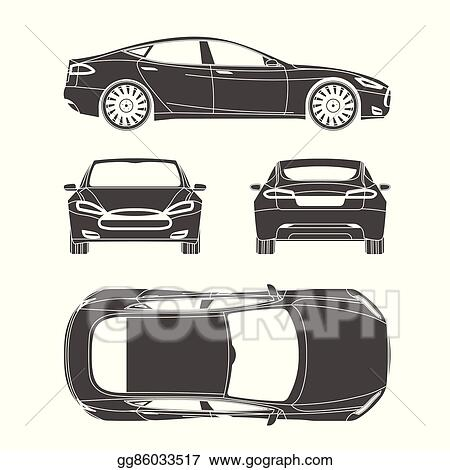 Vector Illustration - Car silhouette draw four all view top side ...