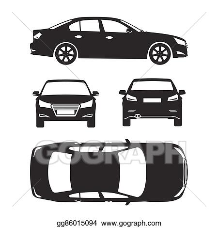 Vector stock car silhouette icons four all view top side back car silhouette icons four all view top side back insurance rent damage condition report form blueprint malvernweather Image collections