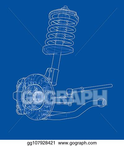 Vector Stock - Car suspension with shock absorber  Clipart
