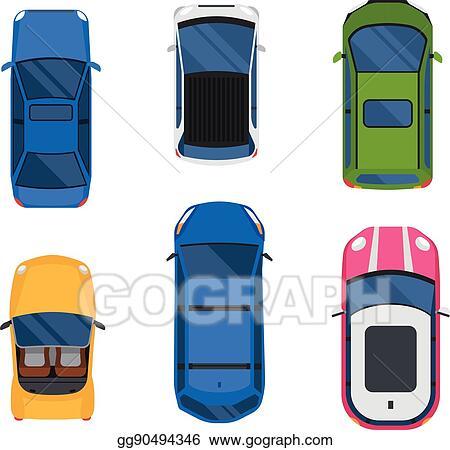 Vector Illustration Car Top View Vector Set Eps Clipart