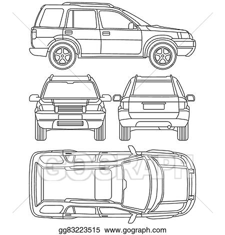 Vector Illustration - Car truck, suv, 4x4, line draw, rent damage ...