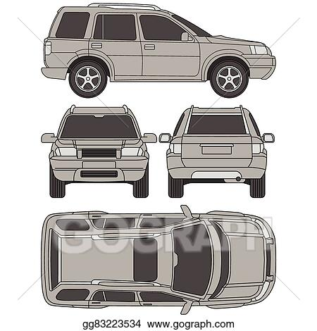 Vector illustration car truck suv 4x4 line draw rent damage car truck suv 4x4 line draw rent damage condition report form blueprint all view four view malvernweather Image collections