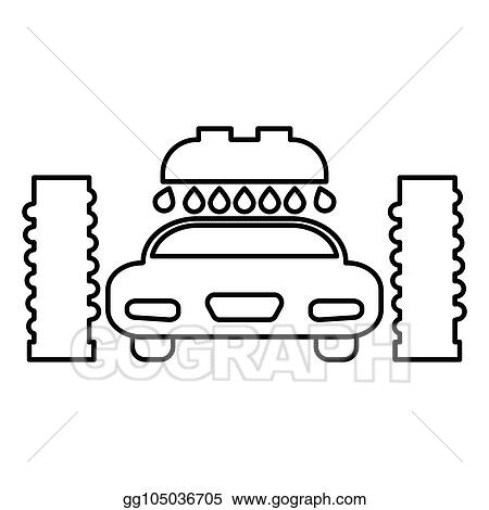 Vector Clipart Car Wash Automatic Icon Black Color Illustration