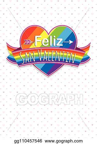 Vector Stock Card Cover With Message Feliz Dia De San Valentin