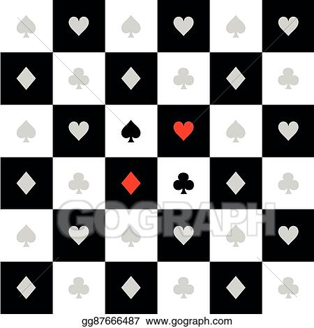 Vector Art - Card suits black white chess board diamond background