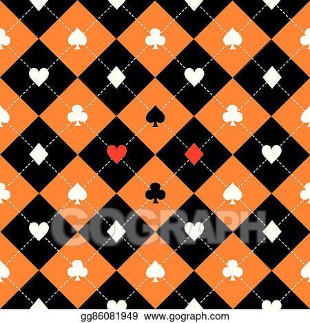 Vector Art - Card suits orange black white chess board diamond