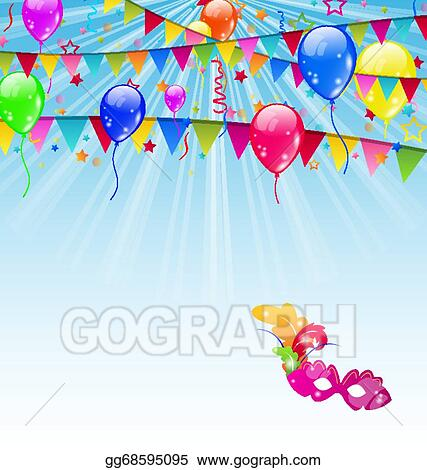 vector stock carnival background with flags confetti balloons