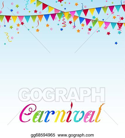 vector stock carnival background with flags confetti text