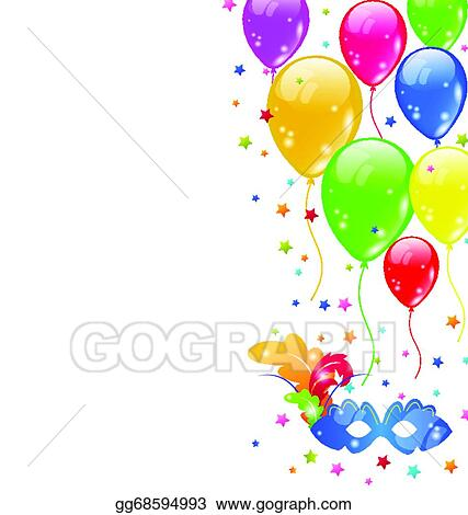 vector stock carnival background with mask and balloons stock