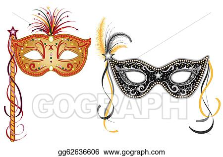 vector illustration carnival masks gold and silver stock clip