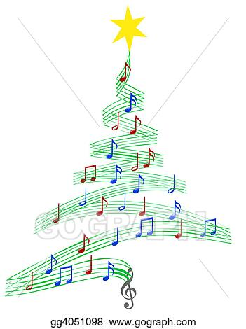 Christmas Music Notes.Clipart Carol Music Christmas Tree Stock Illustration