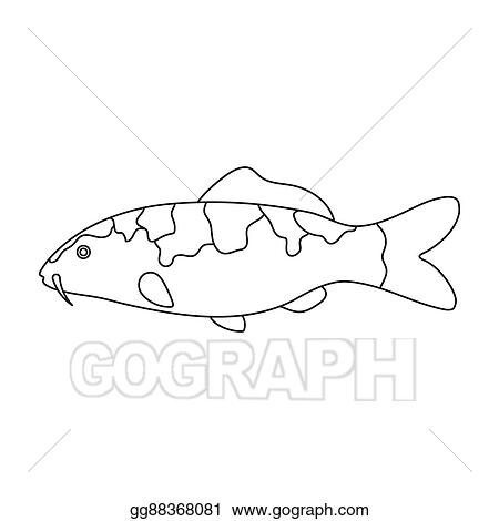 Drawing Carp Koi Fish Icon Line Singe Aquarium Fish Icon From The