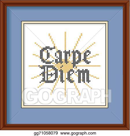 Vector Art - Carpe diem embroidery picture frame. EPS clipart ...