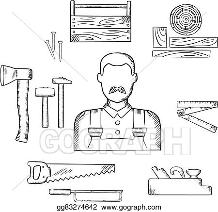 Carpenter With Timber And Tools Sketch Icons