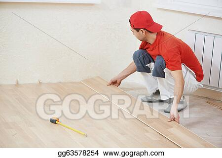 Picture Carpenter Worker Joining Parket Floor Stock Photos