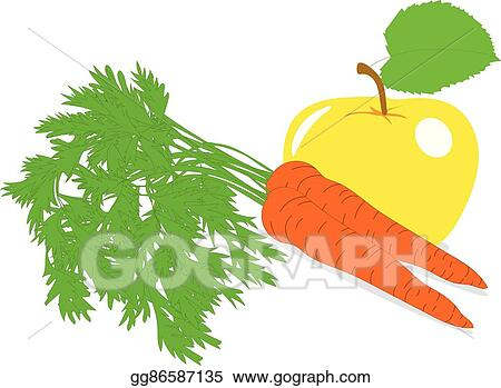Eps Vector Carrot And Yellow Apple Vector Illustrations On A
