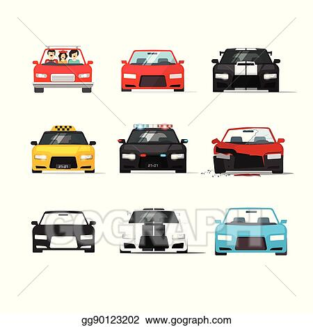 Vector Clipart Cars Icons Set Vector Auto Collection Front View