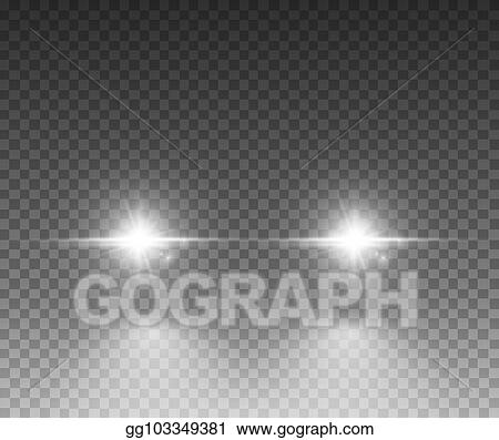 Cars Light Effect White Glow Car Headlight Bright Beams Ray Isolated On Transpa Background