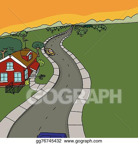 Vector Art - Cars near red house on country road. Clipart Drawing ...