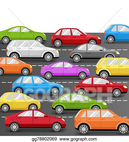 Eps Vector Cars On Road Transport Background Stock Clipart