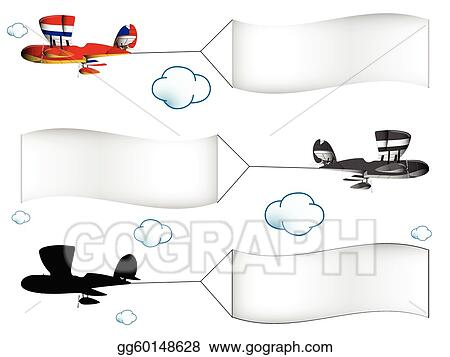Vector Illustration Cartoon Airplanes With Banners Eps Clipart