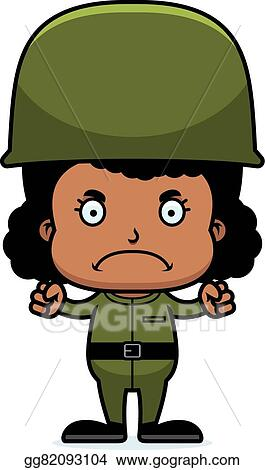 Vector Art - Cartoon angry soldier girl  Clipart Drawing